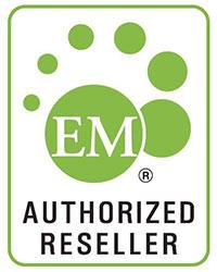 Auktorisoitu välittäjä EM-tuotteille -merkki.