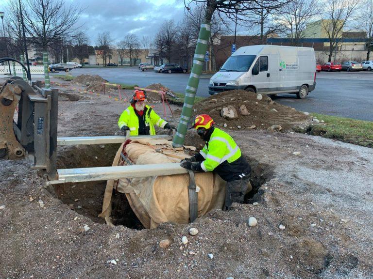 Puun siirto juuriston pakkaamista
